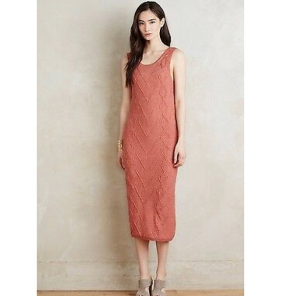 Anthropologie Dresses & Skirts - Anthropologie Peach Cable Knit Dress by Callahan